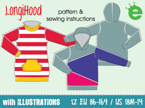 LongiHood sewing pattern sweater hoodie for children pdf print at home