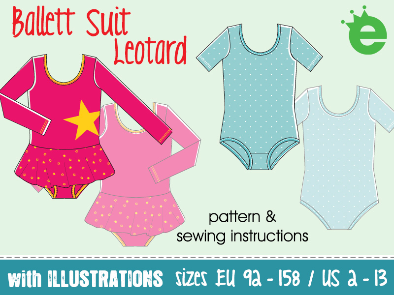 Sewing pattern print at home ballet suit leotard for girls