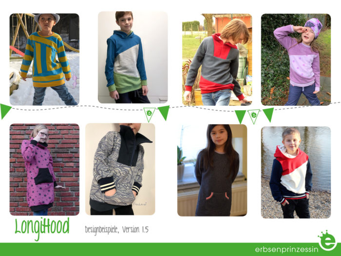 Designbeispiele: unisex Kinder Pulli Kapuze Fischerpulli Troyer Kapuzenkleid