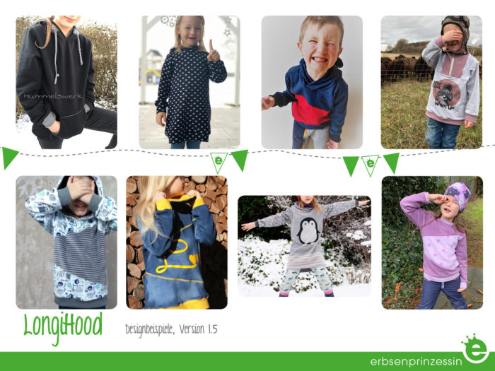 Deisgnbeispiele: Kinder-Sweater Hoodie, Sweatkleid Longihood