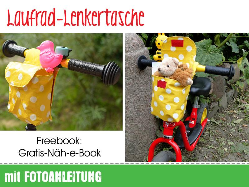 Freebook Laufrad-Lenkertasche. Fahrradkörbchen für Kinder gratis Nähanleitung