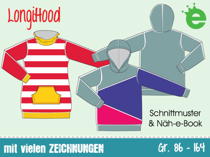 LongiHood nähen: e-Book Hoodie / unisex Sweater für Kinder