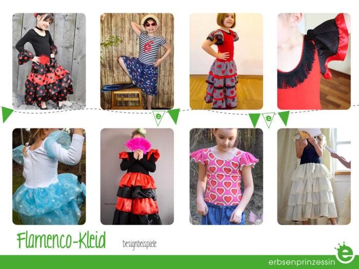 Designbeispiele: Flamenco-Kleid, prinzessinnenkleid, Kinder-Kostüm Nähanleitung und Schnitt