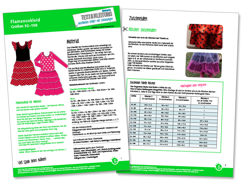 Flamenco-Kleid, kostüm, prinzessinnenkleid: Näh-e-Book