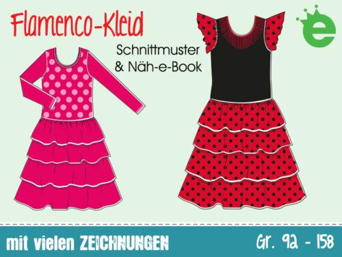 Flamencokleid Schnitt und Nähanleitung für Mädchen. Rüschenkleid, prinzessin