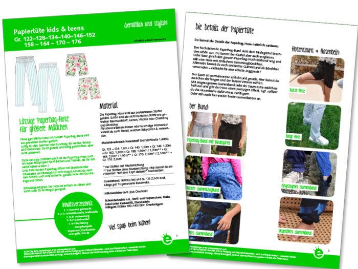 Näh-e-book Paperbag-Hose für Kinder und Teenies