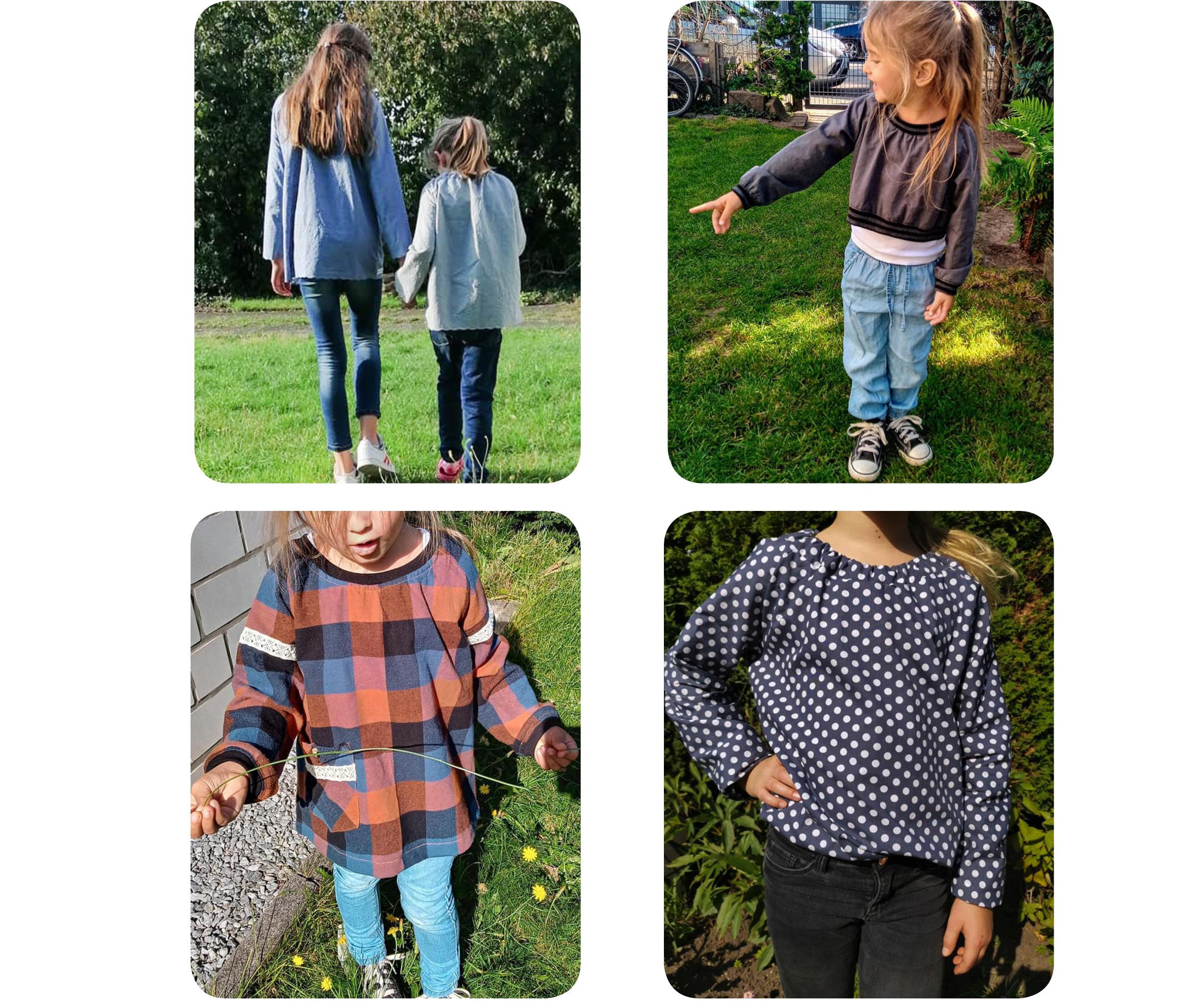 Raglanbluse: Designbeispiele zur Bluse für Mädchen / Nähanleitung