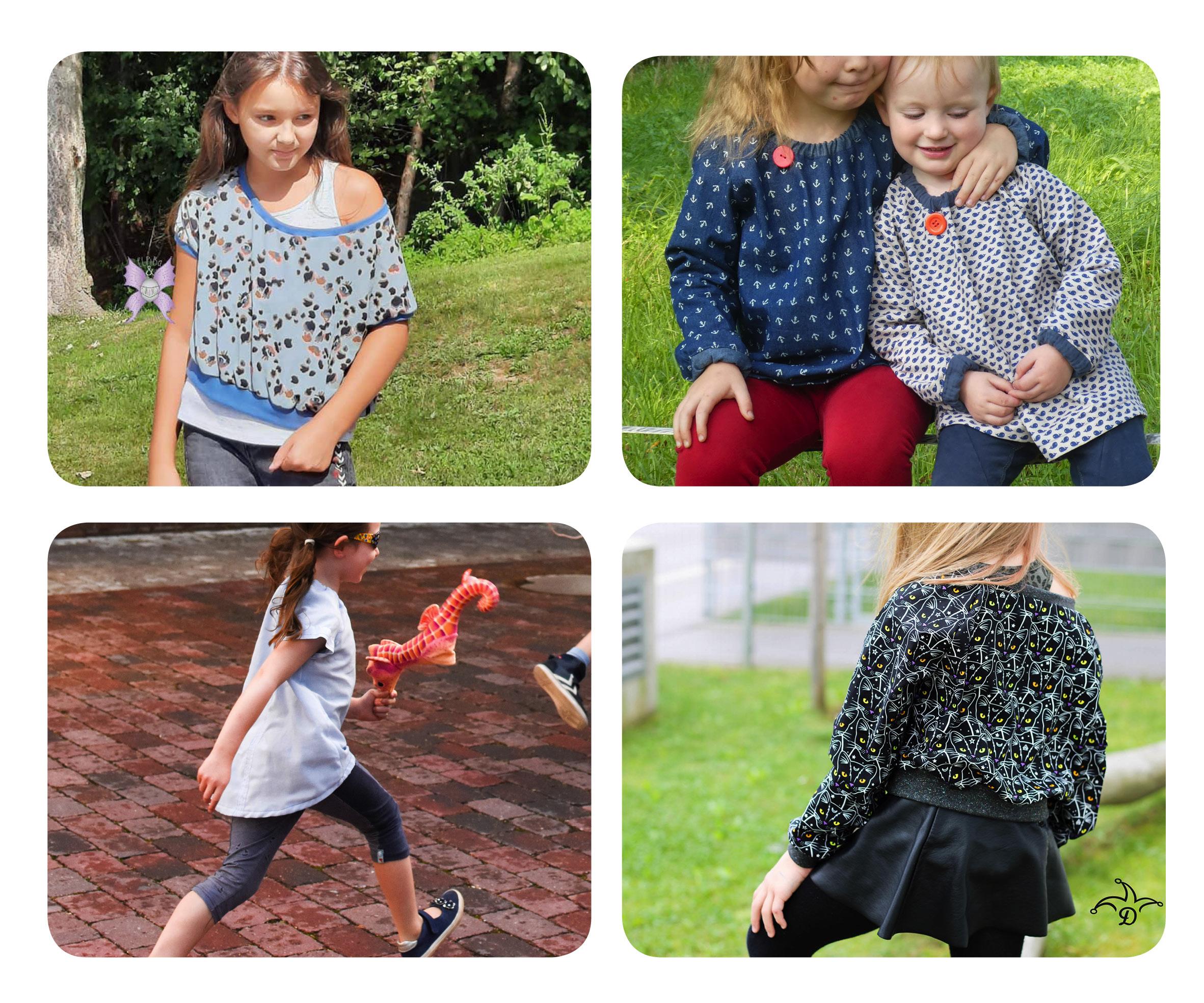 Raglanbluse: Designbeispiele zum Mädchen Schnittmuster