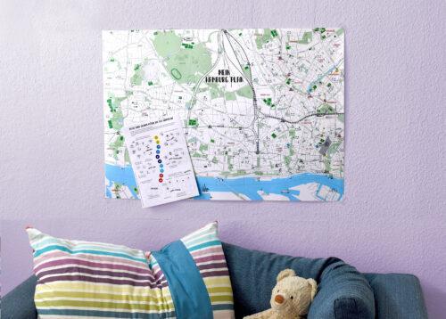 Hamburg Stadtplan im Kinderzimmer mit Aufklebern zum selbst Gestalten